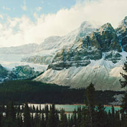 Mountain range at the lakeside, Crowfoot Glacier, Banff National Park, Alberta, Canada