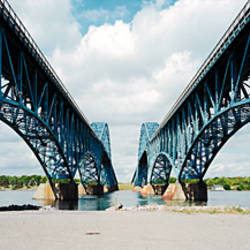 Low angle view of two bridges, North Grand Island Bridge, South Grand Island Bridge, Niagara River, New York State, USA