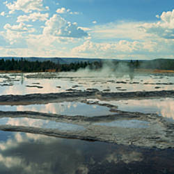 Steam emerging from a geyser, Great Fountain Geyser, Yellowstone National Park, Wyoming, USA