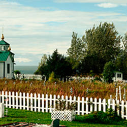 Cemetery and a church, Russian Orthodox Church, Ninilchik, Alaska, USA