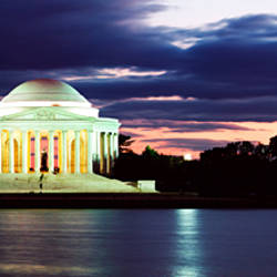 Monument lit up at dusk, Jefferson Memorial, Washington DC, USA