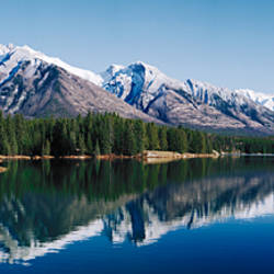 Mountain range at the lakeside, Johnson Lake, Jasper National Park, Alberta, Canada