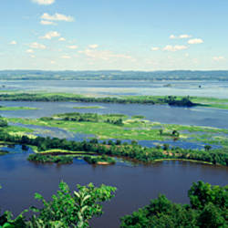 River flowing through a landscape, Mississippi River, La Crescent, Minnesota, USA