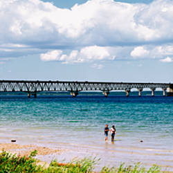 Bridge across a lake, Mackinac Bridge, Mackinaw City, Michigan, USA