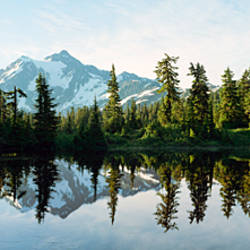 Reflection of a mountain in a lake, Picture Lake, Mt Shuksan, North Cascades National Park, Washington State, USA