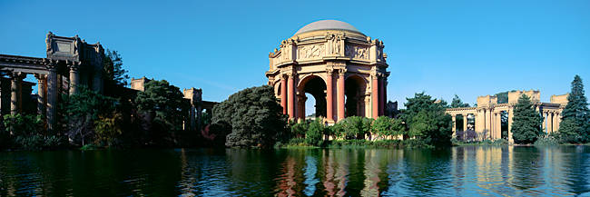 Reflection of an art museum in water, Palace Of Fine Arts, Marina District, San Francisco, California, USA