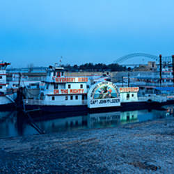 Boats moored at a harbor, Memphis, Mississippi River, Tennessee, USA