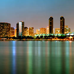 City skyline at night, San Diego, California, USA