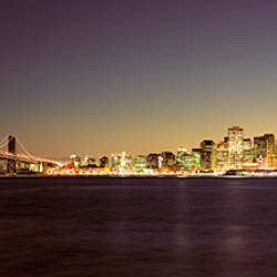 Bridge across a bay with city skyline in the background, Bay Bridge, San Francisco Bay, San Francisco, California, USA
