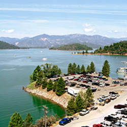 High angle view of a lake surrounded by mountains, Shasta Lake, California, USA
