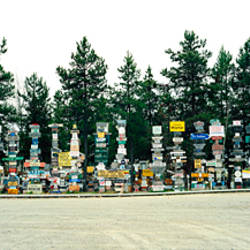 Signposts at the roadside, Sign Post Forest, Watson Lake, Yukon, California, USA