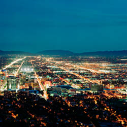 City lit up at night, Salt Lake City, Utah, USA