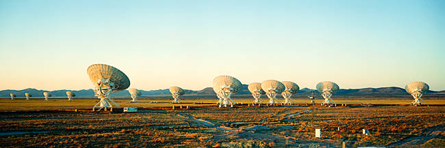 Radio Telescopes in a field, Very Large Array, National Radio Astronomy Observatory, Magdalena, New Mexico, USA