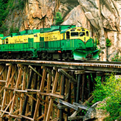 Train on a bridge, White Pass And Yukon Route Railroad, Skagway, Alaska, USA