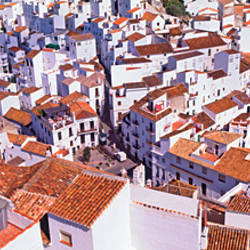 High angle view of a town, Casares, Pueblos Blancos, Malaga Province, Andalusia, Spain