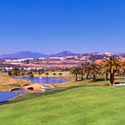 Trees in a golf course with mountains in the background, Marbella Club Hotel, Marbella, Malaga Province, Andalusia, Spain
