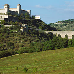 Low angle view of a castle, Festival dei Due Mondi, Apennines, Spoleto, Perugia, Umbria, Italy