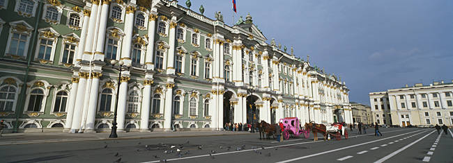Museum along a road, State Hermitage Museum, Winter Palace, Palace Square, St. Petersburg, Russia