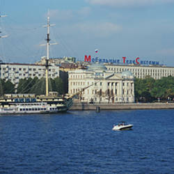 Boat docked at a riverbank, Neva River, St. Petersburg, Russia