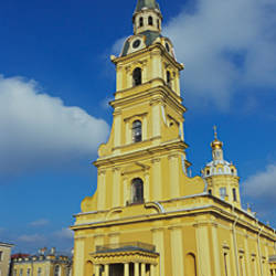Low angle view of a cathedral, Peter and Paul Cathedral, Peter and Paul Fortress, St. Petersburg, Russia