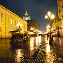 Street lit up at night, Arbat Street, Moscow, Russia