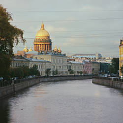 Buildings along a river, Moika River, St. Isaac's Cathedral, St. Petersburg, Russia