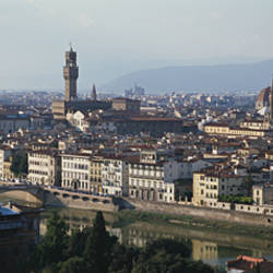 High angle view of buildings in a city, Arno River, Florence, Tuscany, Italy