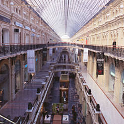 Interiors of a shopping mall, GUM, Glavny Universalny Magazin, Kremlin, Moscow, Russia