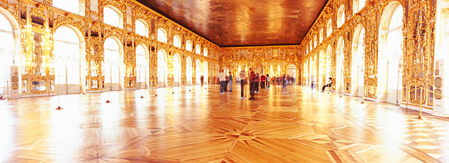 Group of people inside a ballroom, Catherine Palace, Pushkin, St. Petersburg, Russia