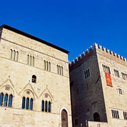 Low angle view of buildings at a market square, Todi, Perugia, Umbria, Italy