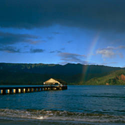 Rainbow over the sea, Hanalei, Kauai, Hawaii, USA