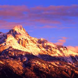 Mountains covered with snow, Teton Range, Grand Teton National Park, Wyoming, USA