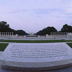 Memorial plaque at a monument, National World War II Memorial, Washington DC, USA
