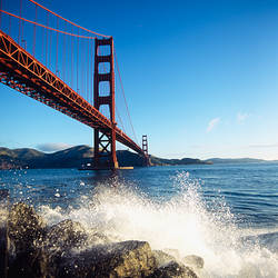Low angle view of a bridge across the sea, Golden Gate Bridge, San Francisco, California, USA