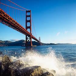 Low angle view of a bridge across the sea, Golden Gate Bridge, San Francisco, California, USA