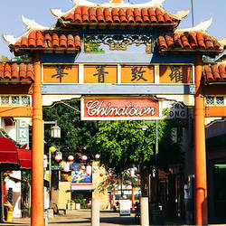 Entrance of a market, Chinatown, City of Los Angeles, California, USA