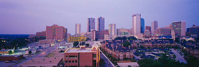 Skyscrapers in a city at dusk, Fort Worth, Texas, USA