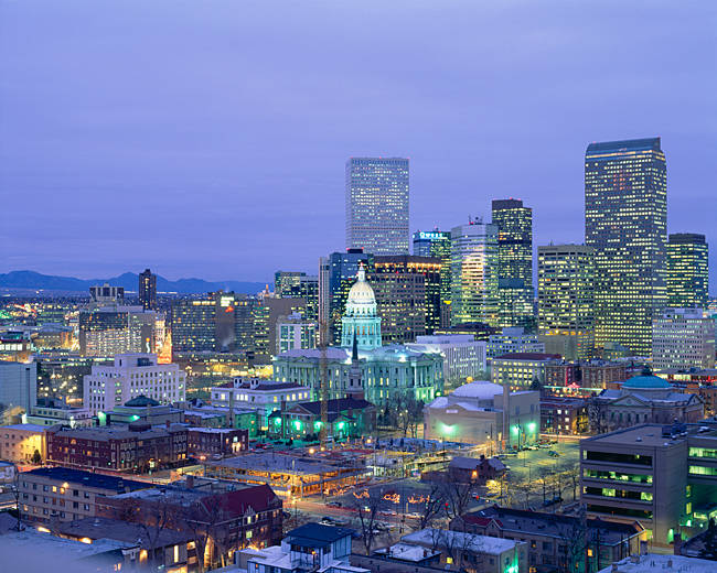 High angle view of the State Capitol Building and downtown, Denver, Colorado, USA