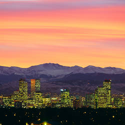 Skyline and mountains at dusk, Denver, Colorado, USA