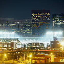 Coors Field lit up at night, Denver, Colorado, USA