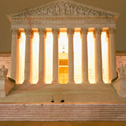 Supreme Court Building illuminated at night, Washington DC, USA