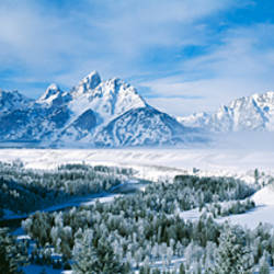 Snow-capped mountains in Grand Teton National Park, Wyoming., USA