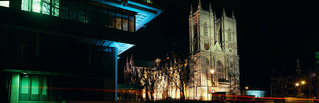 Abbey lit up at night, Westminster Abbey, City Of Westminster, Greater London, London, England