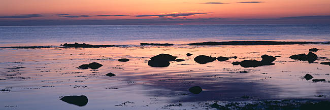 Panoramic view of the sea at dawn, Northumberland, England