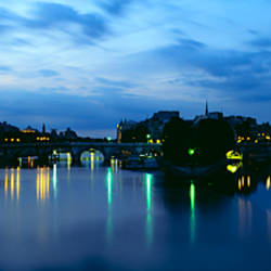 Bridge lit up night, Pont Neuf, Seine River, Paris, France