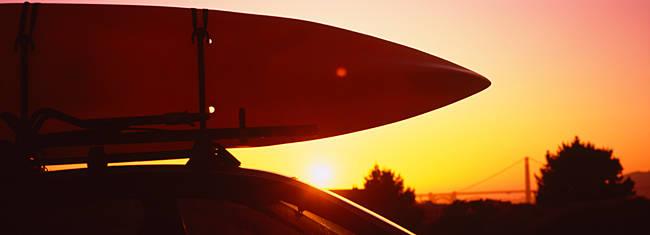 Close-up of a kayak on a car roof at sunset, San Francisco, California, USA