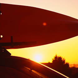 Close-up of a kayak on a car roof at sunset, San Francisco, California, USA