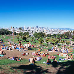 High angle view of a group of people resting in a park, Dolores Park, San Francisco, California, USA