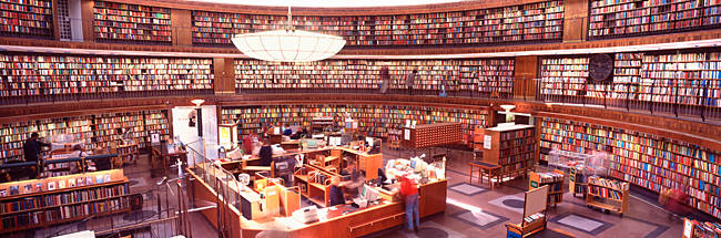 Interiors of a library, Stockholm Public Library, Stockholm, Sweden