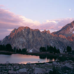 Mountains overlooking a lake, Sawtooth Mountains, Idaho, USA